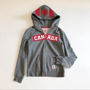 Roots Grey White Team Canada Zip Up Hoodie Sweater
